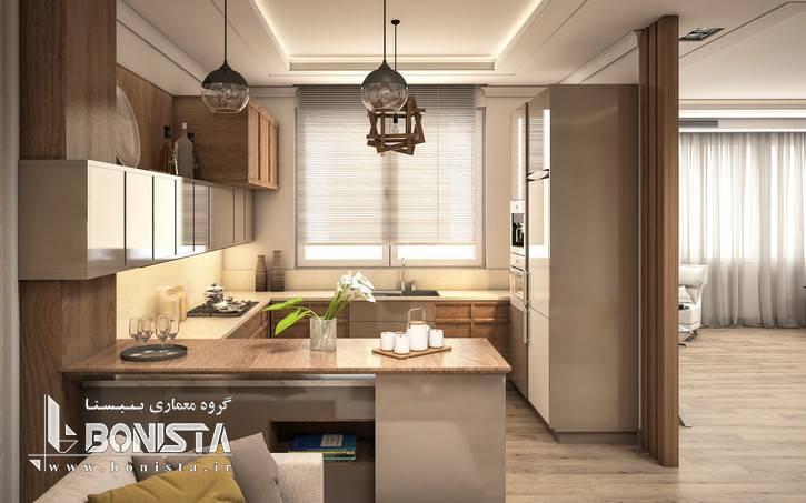 طراحی داخلی مدرن واحد های پروژه قیطریه - طراحی کابینت آشپزخانه