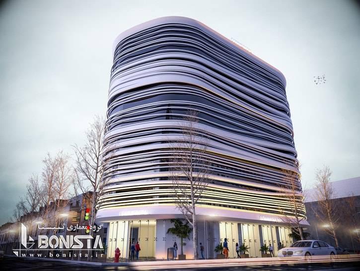 طراحی نمای ساختمان تجاری