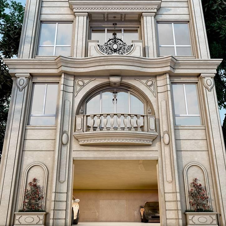طراحی نما کلاسیک ساختمان مسکونی اهورا - کاشانک